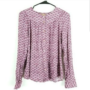 Anthropologie Maeve S Blouse Button Down Printed